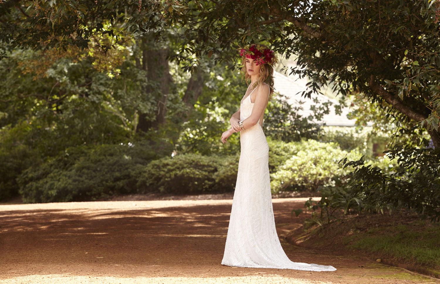 Gown by Lilli Marcs 9357 4408 / lillimarcs.com.au Jewellery by House of Emmanuel Floral crown by Form Over Function