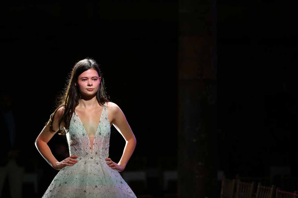 SYDNEY, AUSTRALIA - MAY 15: A model rehearses ahead of the Steven Khalil show at Mercedes-Benz Fashion Week Resort 18 Collections at Elston Room on May 15, 2017 in Sydney, Australia. (Photo by Mark Nolan/Getty Images)
